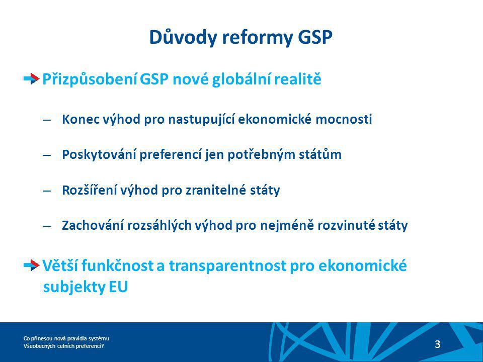 Důvody reformy GSP Přizpůsobení GSP nové globální realitě