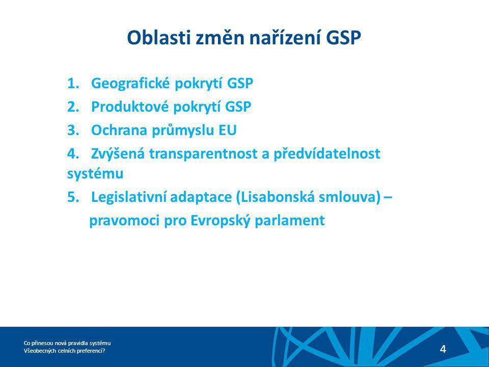 Oblasti změn nařízení GSP