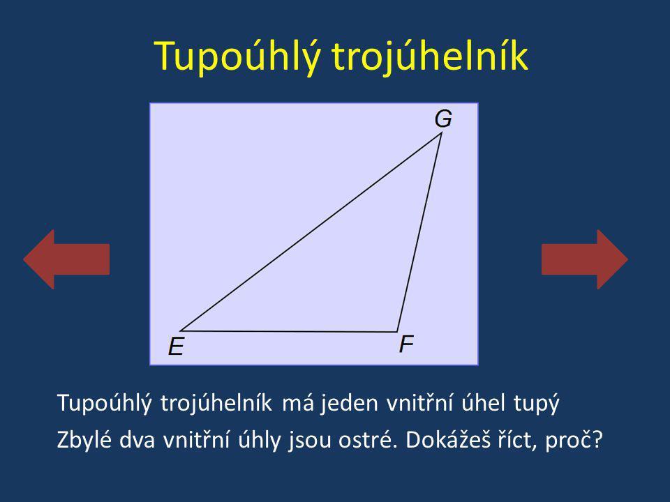 Tupoúhlý trojúhelník Tupoúhlý trojúhelník má jeden vnitřní úhel tupý