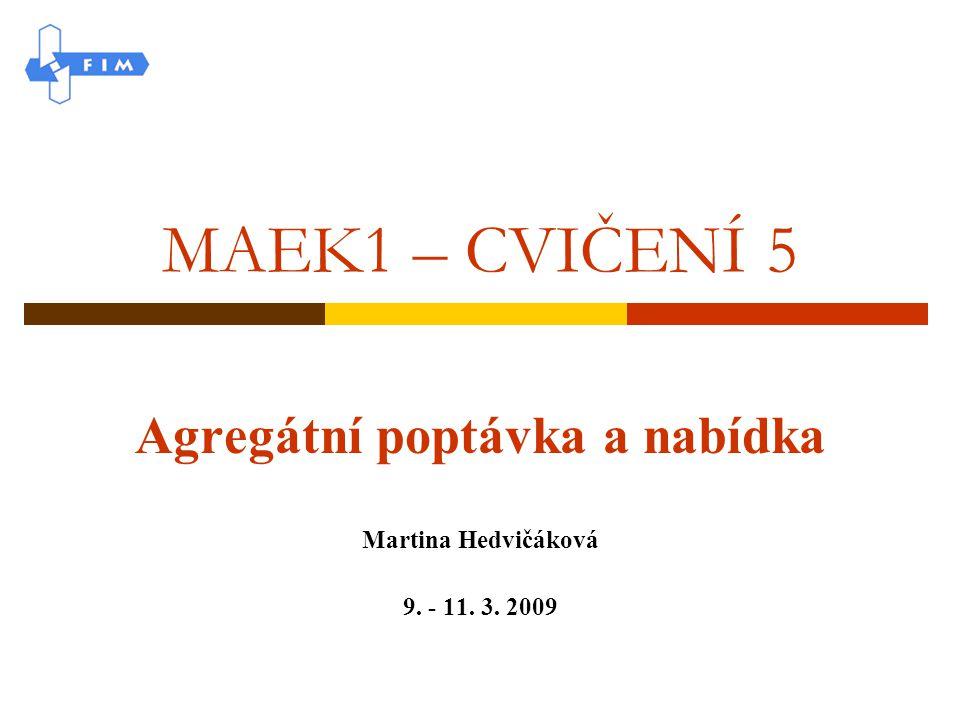 Agregátní poptávka a nabídka Martina Hedvičáková 9. - 11. 3. 2009