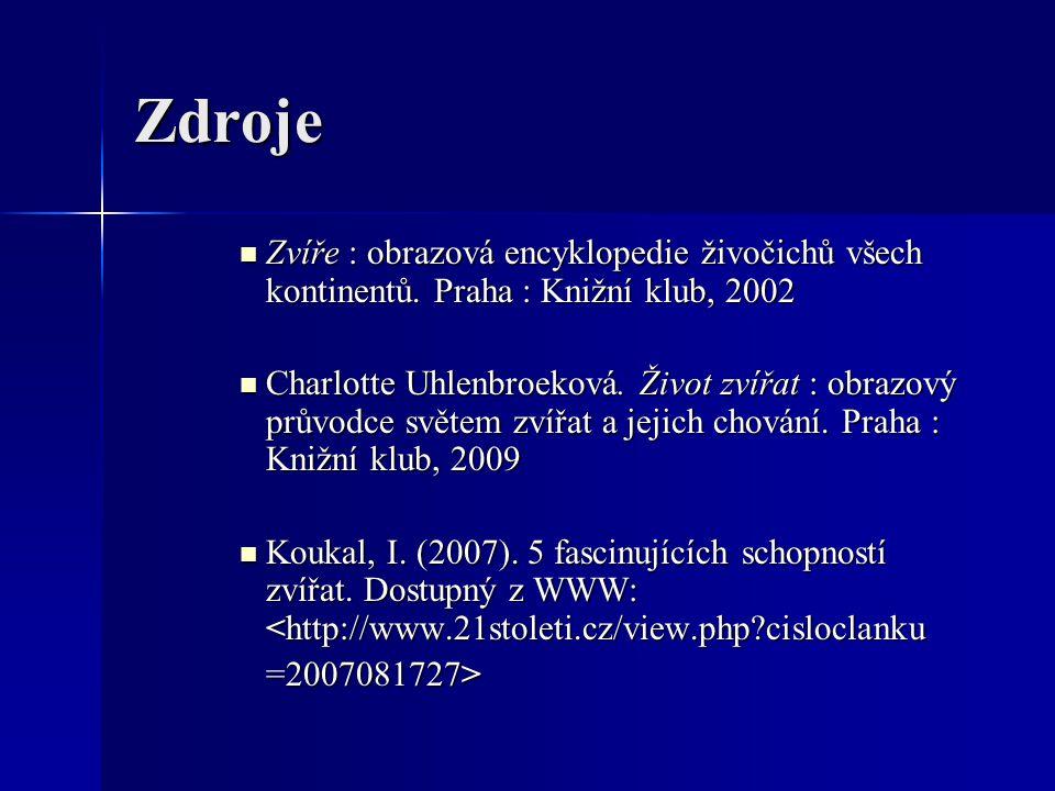 Zdroje Zvíře : obrazová encyklopedie živočichů všech kontinentů. Praha : Knižní klub, 2002.