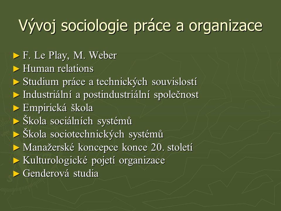 Vývoj sociologie práce a organizace