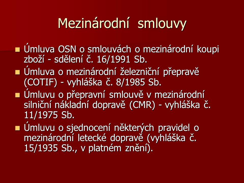 Mezinárodní smlouvy Úmluva OSN o smlouvách o mezinárodní koupi zboží - sdělení č. 16/1991 Sb.
