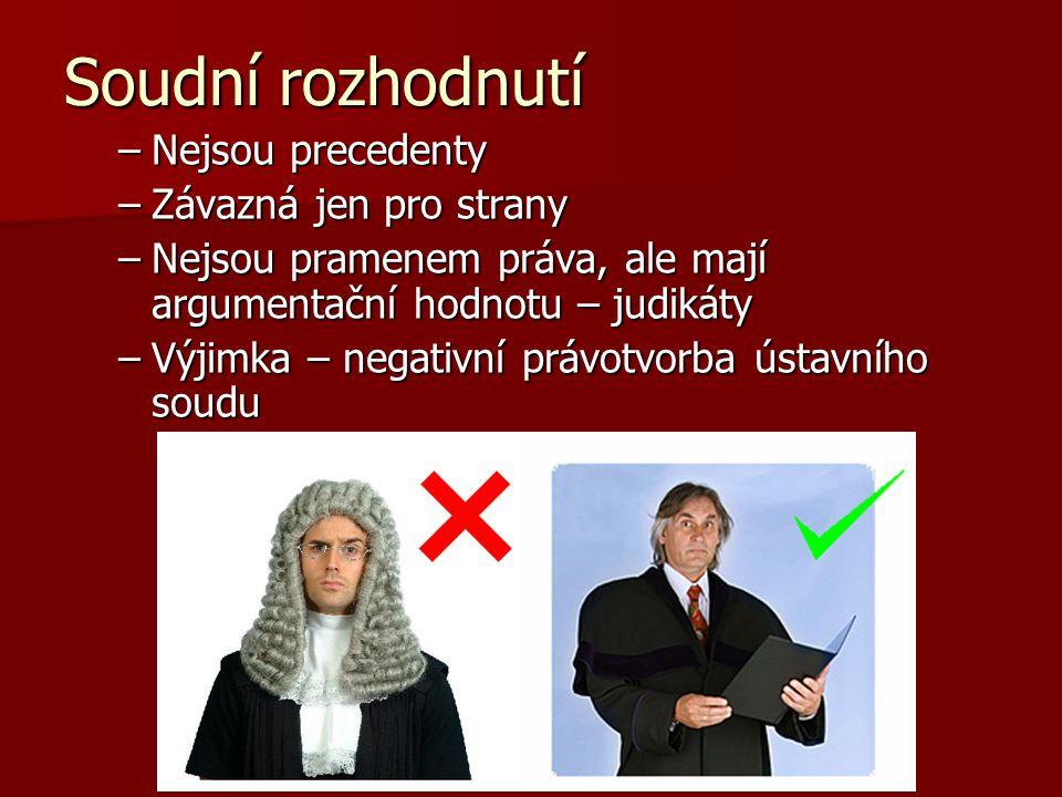 Soudní rozhodnutí Nejsou precedenty Závazná jen pro strany