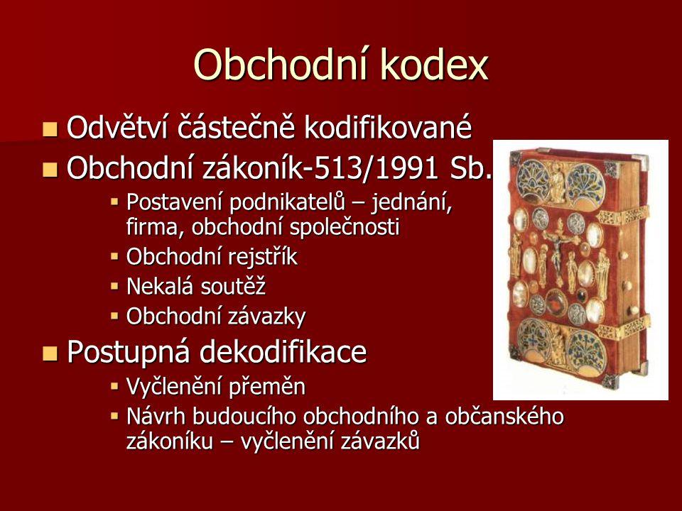 Obchodní kodex Odvětví částečně kodifikované