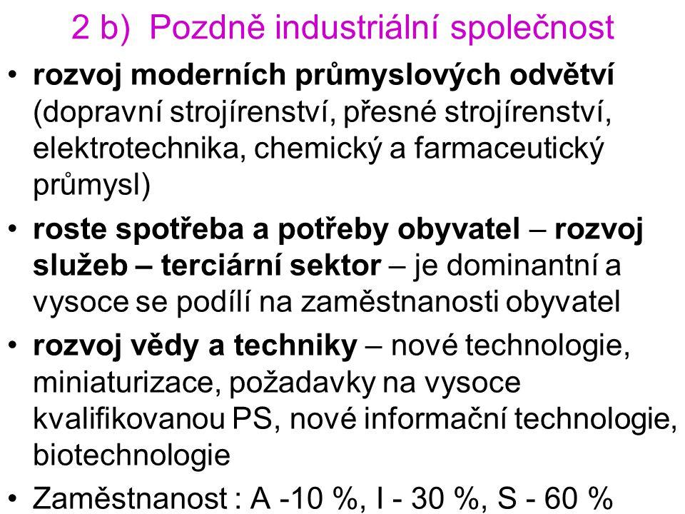 2 b) Pozdně industriální společnost