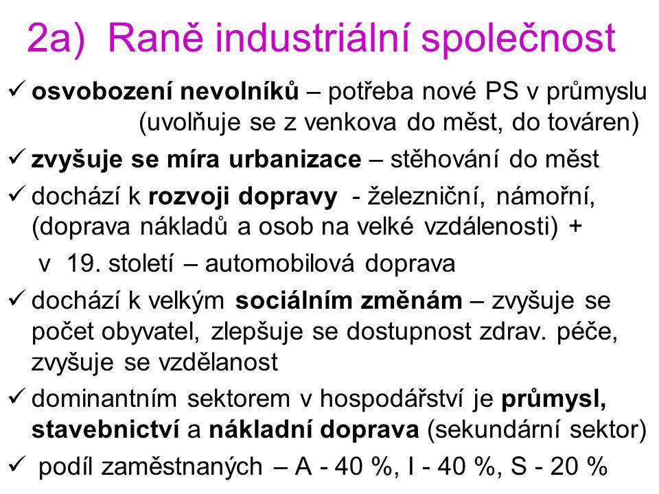 2a) Raně industriální společnost