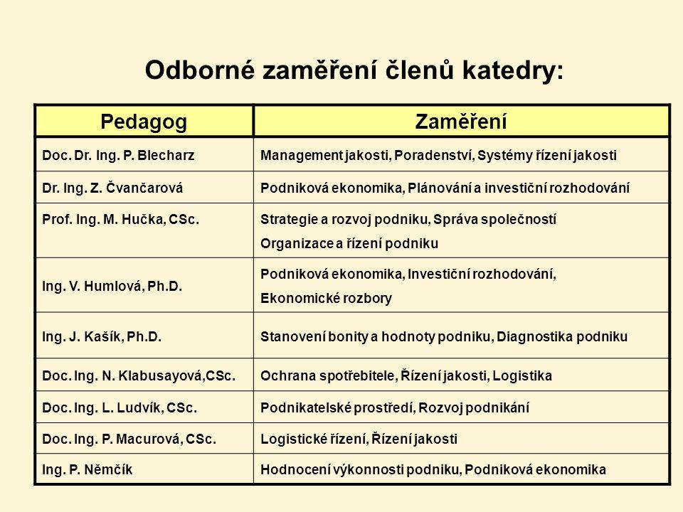 Odborné zaměření členů katedry: