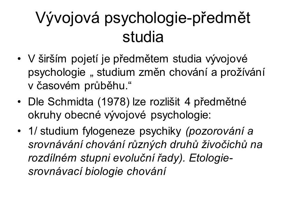 Vývojová psychologie-předmět studia