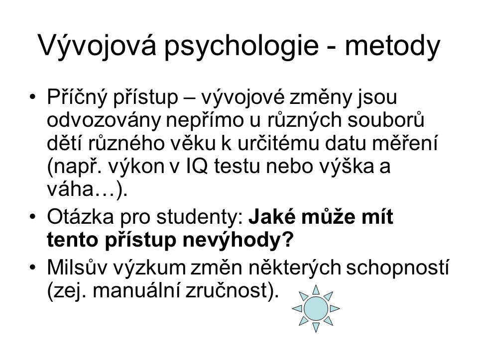 Vývojová psychologie - metody