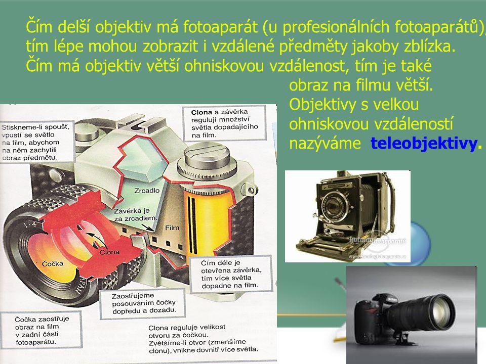 Čím delší objektiv má fotoaparát (u profesionálních fotoaparátů), tím lépe mohou zobrazit i vzdálené předměty jakoby zblízka.