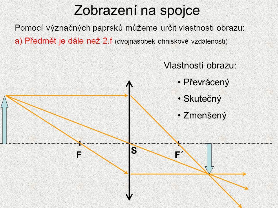 Zobrazení na spojce Vlastnosti obrazu: Převrácený Skutečný Zmenšený F
