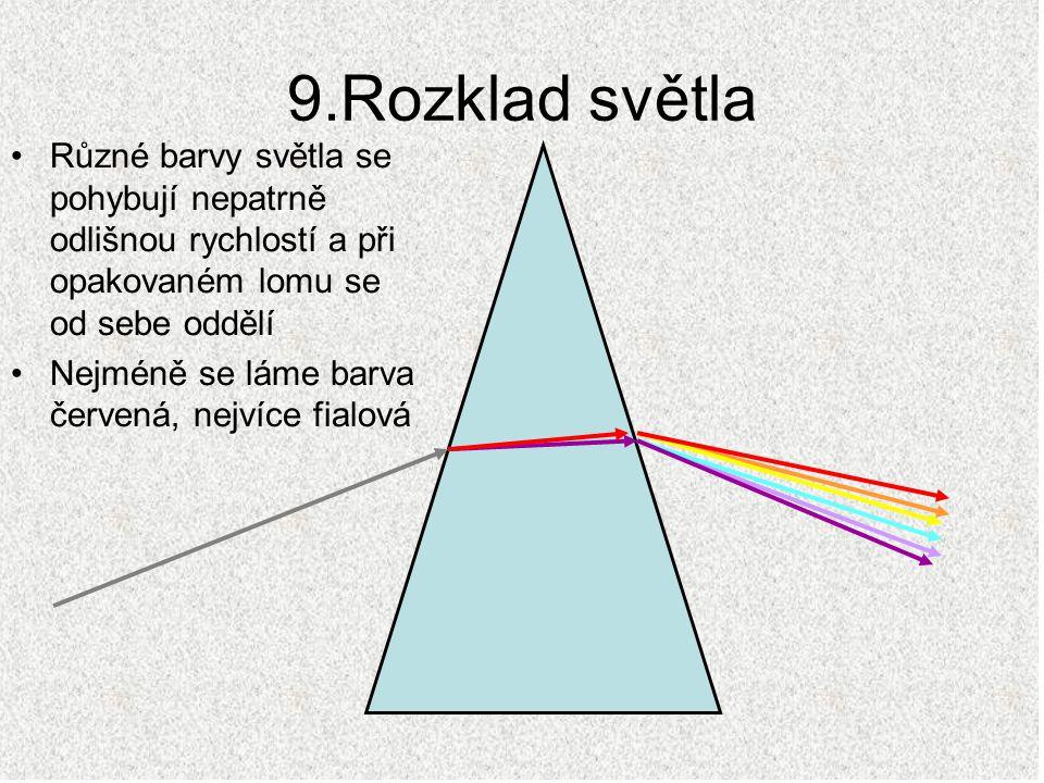 9.Rozklad světla Různé barvy světla se pohybují nepatrně odlišnou rychlostí a při opakovaném lomu se od sebe oddělí.