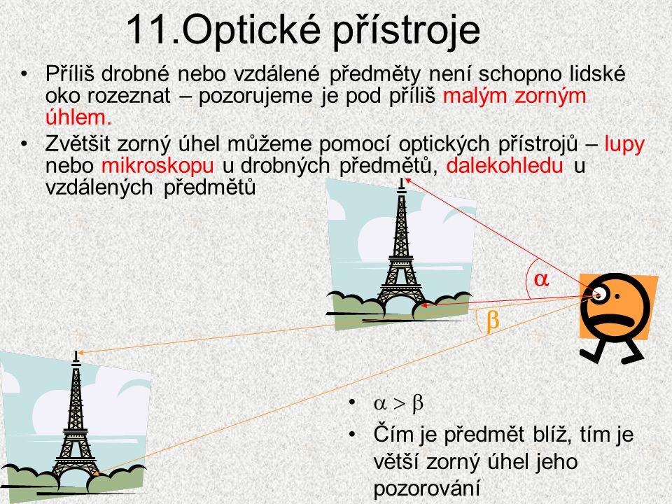 11.Optické přístroje Příliš drobné nebo vzdálené předměty není schopno lidské oko rozeznat – pozorujeme je pod příliš malým zorným úhlem.