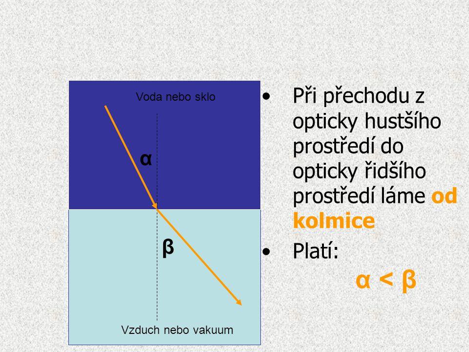 Při přechodu z opticky hustšího prostředí do opticky řidšího prostředí láme od kolmice