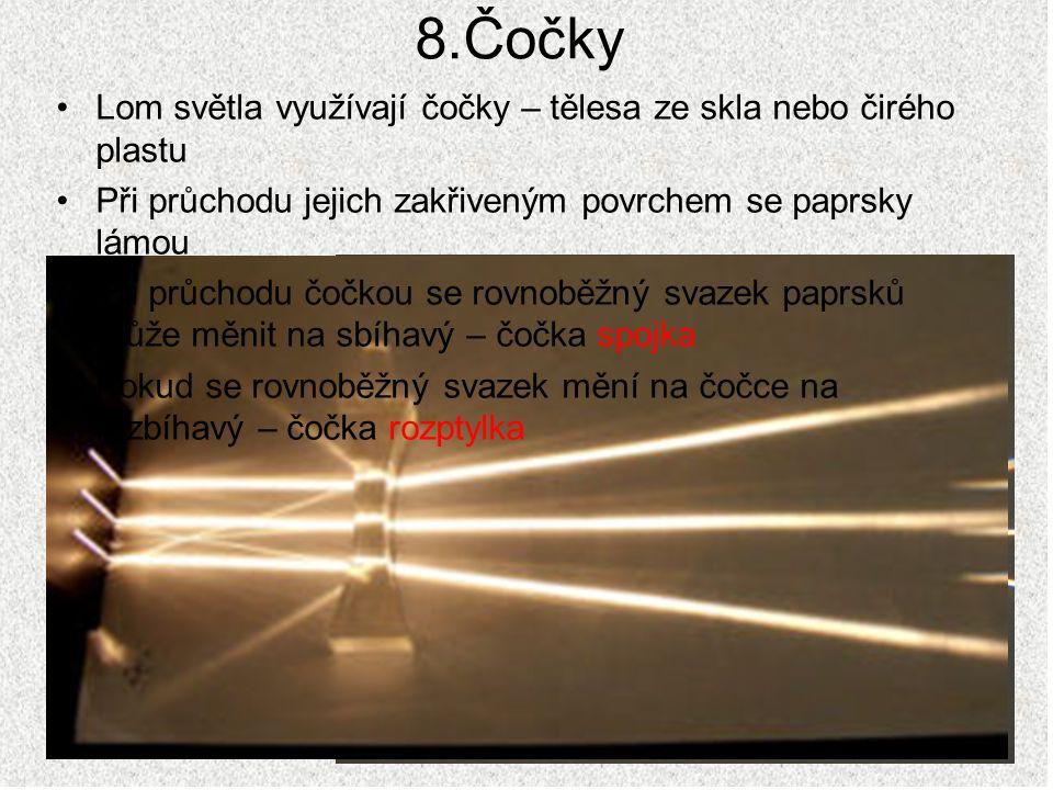 8.Čočky Lom světla využívají čočky – tělesa ze skla nebo čirého plastu