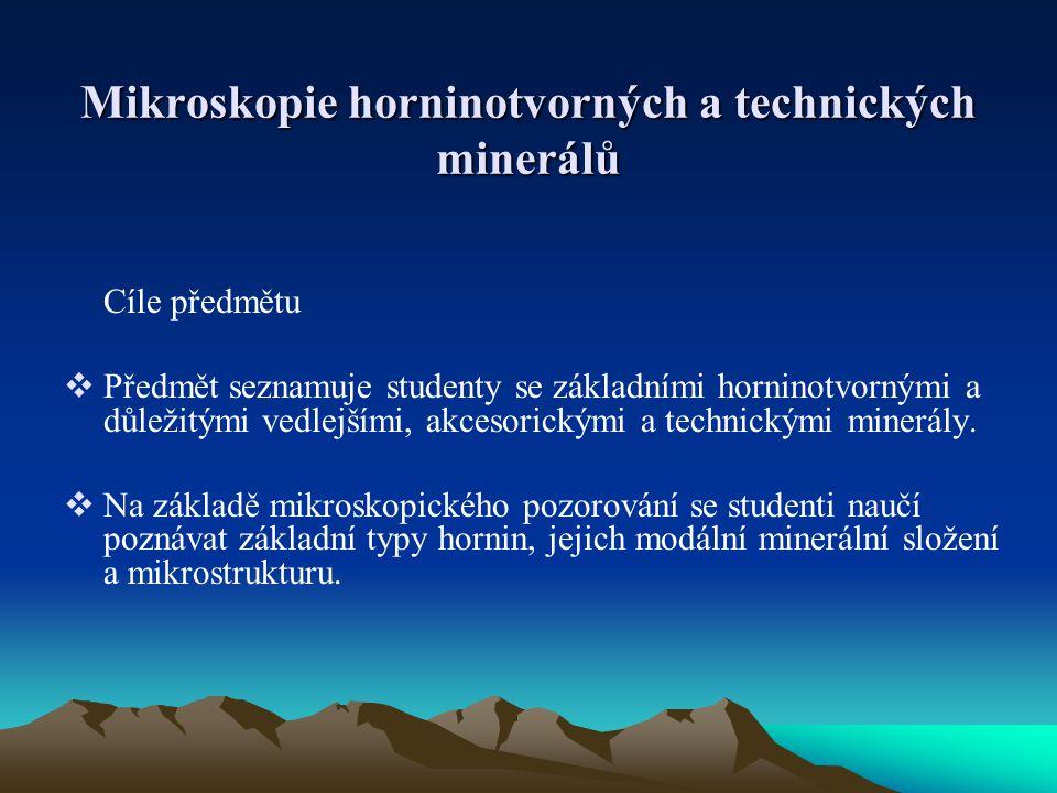 Mikroskopie horninotvorných a technických minerálů