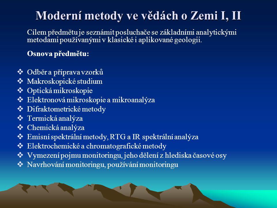 Moderní metody ve vědách o Zemi I, II