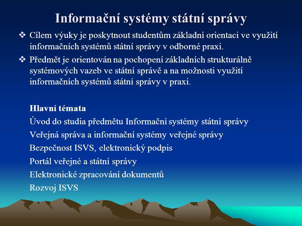Informační systémy státní správy