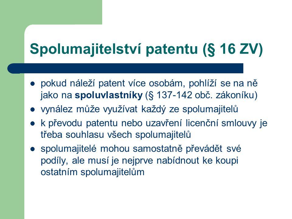 Spolumajitelství patentu (§ 16 ZV)