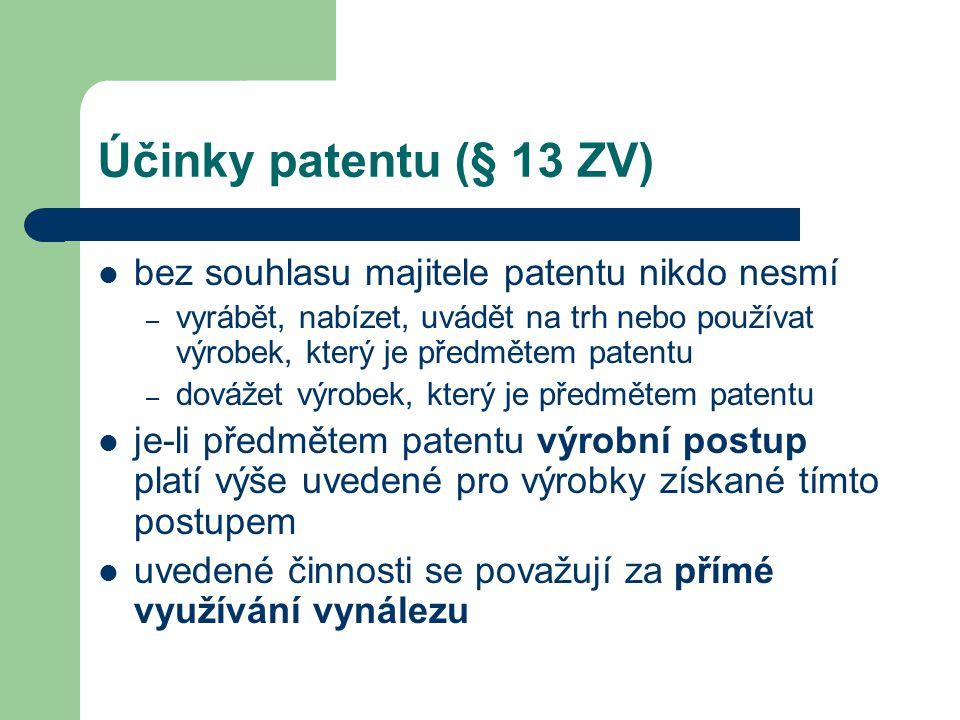 Účinky patentu (§ 13 ZV) bez souhlasu majitele patentu nikdo nesmí