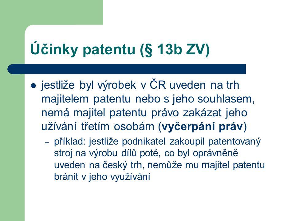 Účinky patentu (§ 13b ZV)