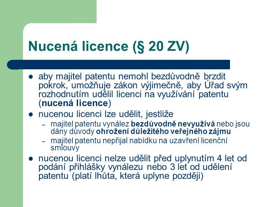 Nucená licence (§ 20 ZV)