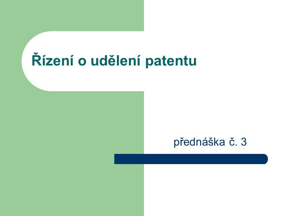 Řízení o udělení patentu