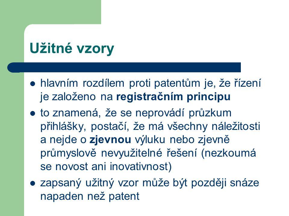 Užitné vzory hlavním rozdílem proti patentům je, že řízení je založeno na registračním principu.