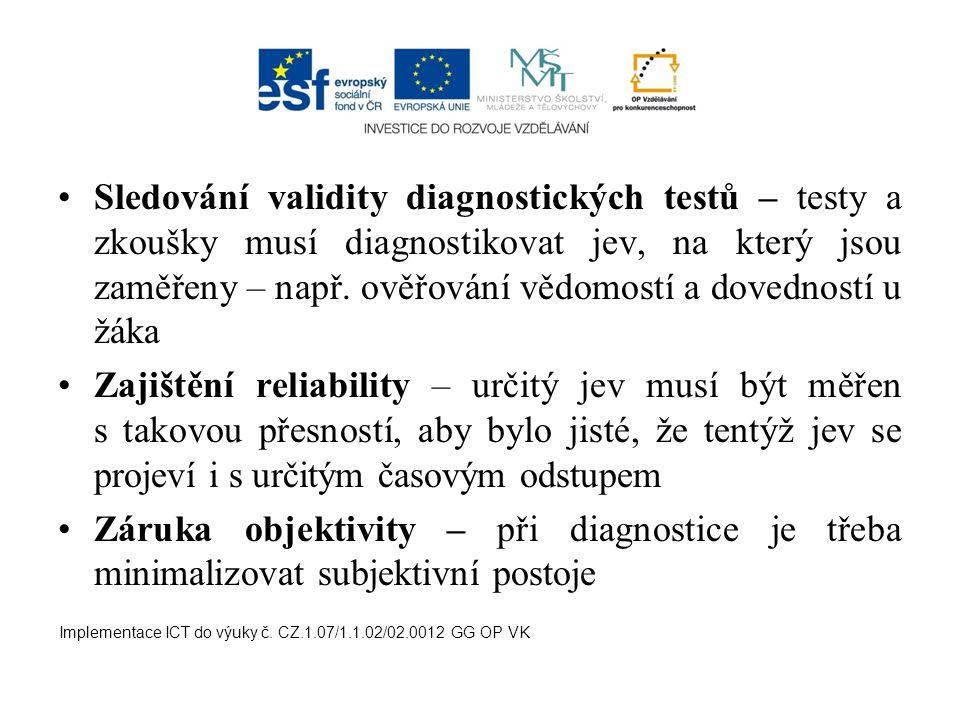 Sledování validity diagnostických testů – testy a zkoušky musí diagnostikovat jev, na který jsou zaměřeny – např. ověřování vědomostí a dovedností u žáka