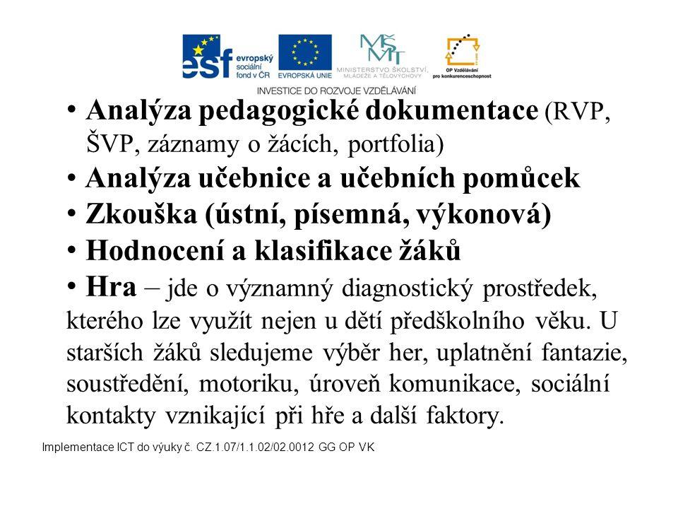 Analýza pedagogické dokumentace (RVP,