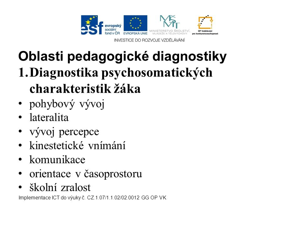 Oblasti pedagogické diagnostiky