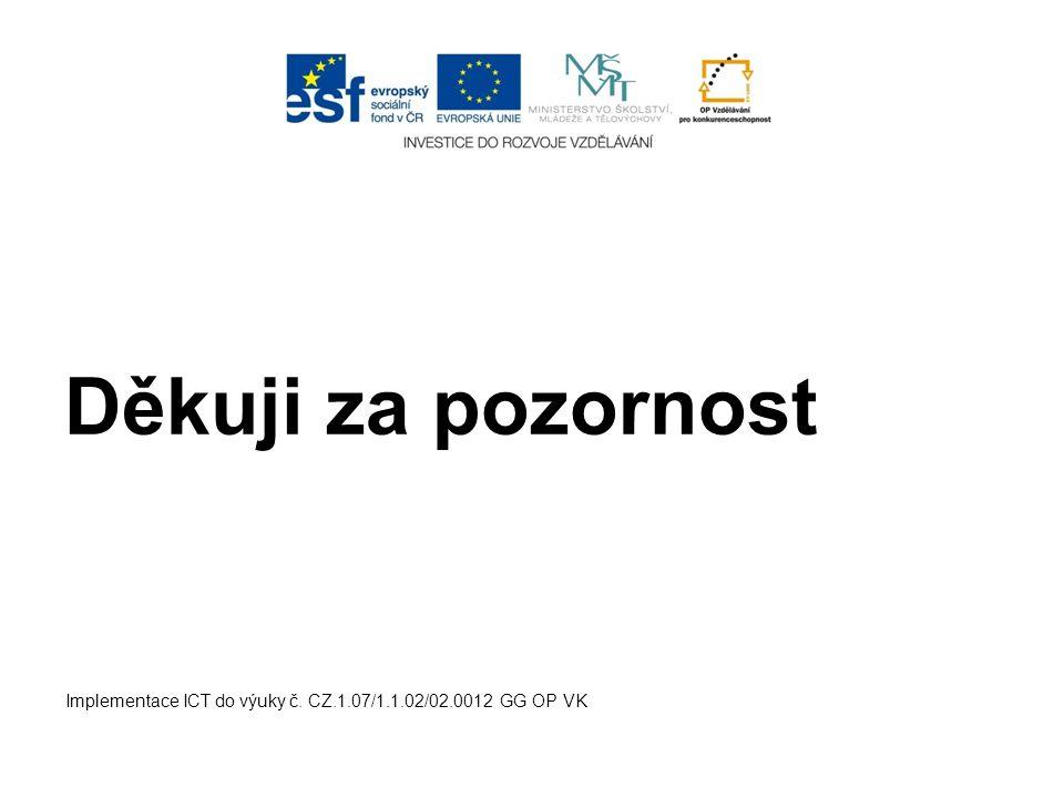 Děkuji za pozornost Implementace ICT do výuky č. CZ.1.07/1.1.02/02.0012 GG OP VK