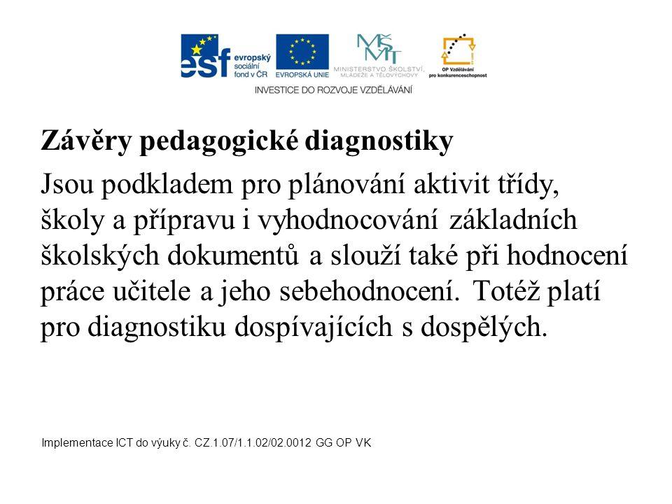 Závěry pedagogické diagnostiky