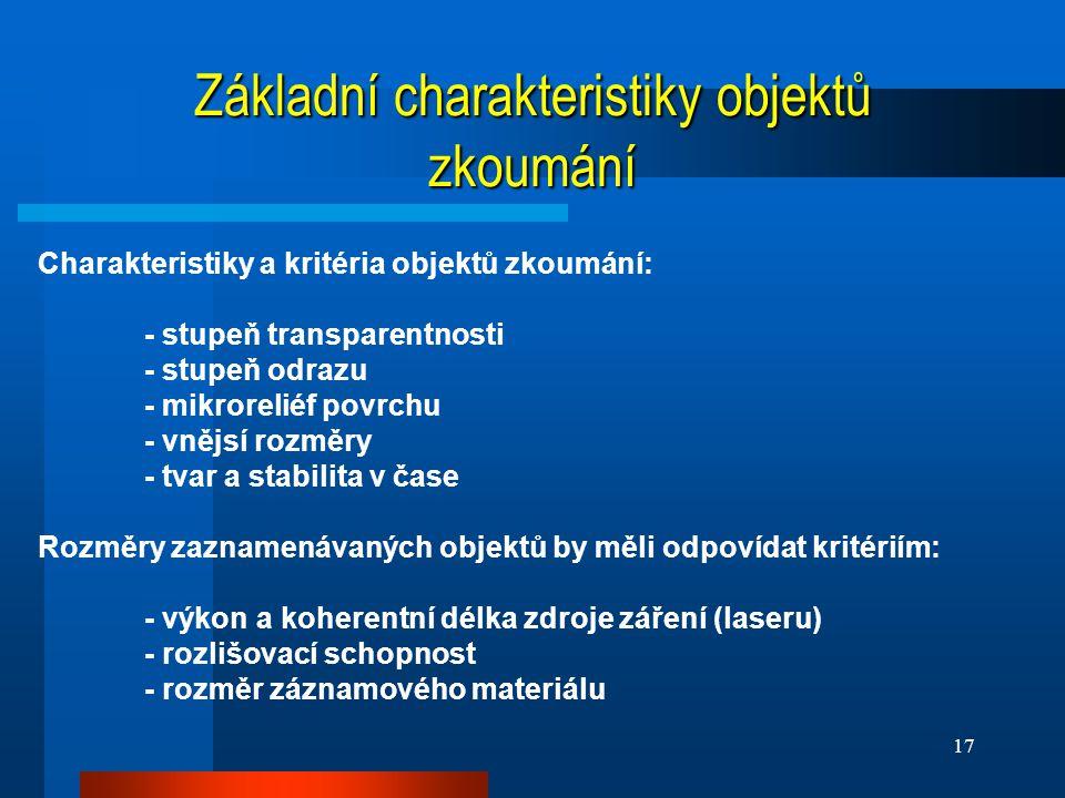 Základní charakteristiky objektů zkoumání