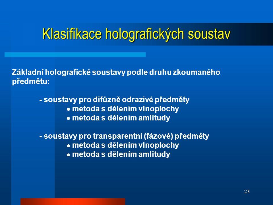 Klasifikace holografických soustav