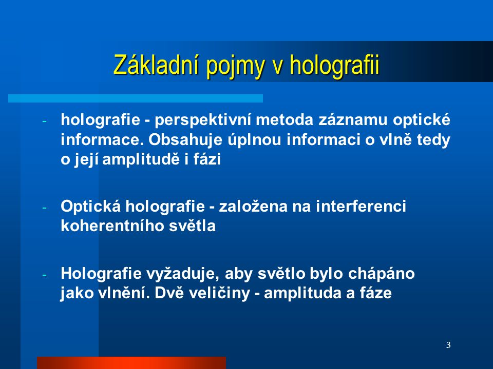Základní pojmy v holografii