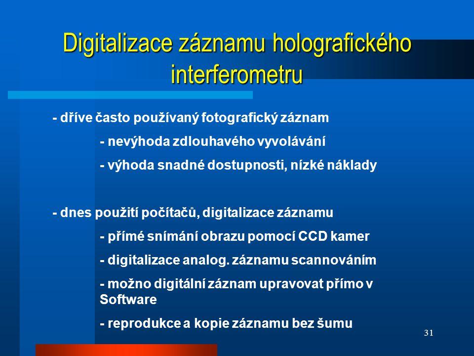 Digitalizace záznamu holografického interferometru