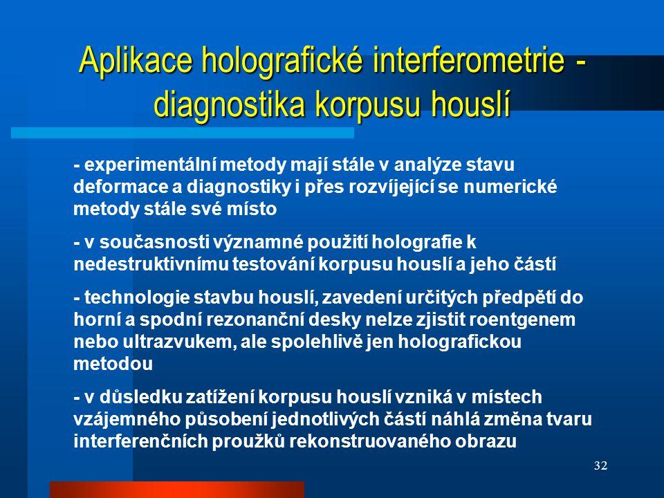 Aplikace holografické interferometrie - diagnostika korpusu houslí