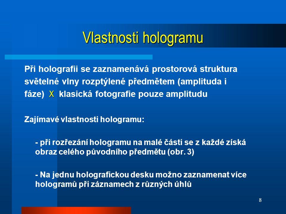 Vlastnosti hologramu Při holografii se zaznamenává prostorová struktura. světelné vlny rozptýlené předmětem (amplituda i.