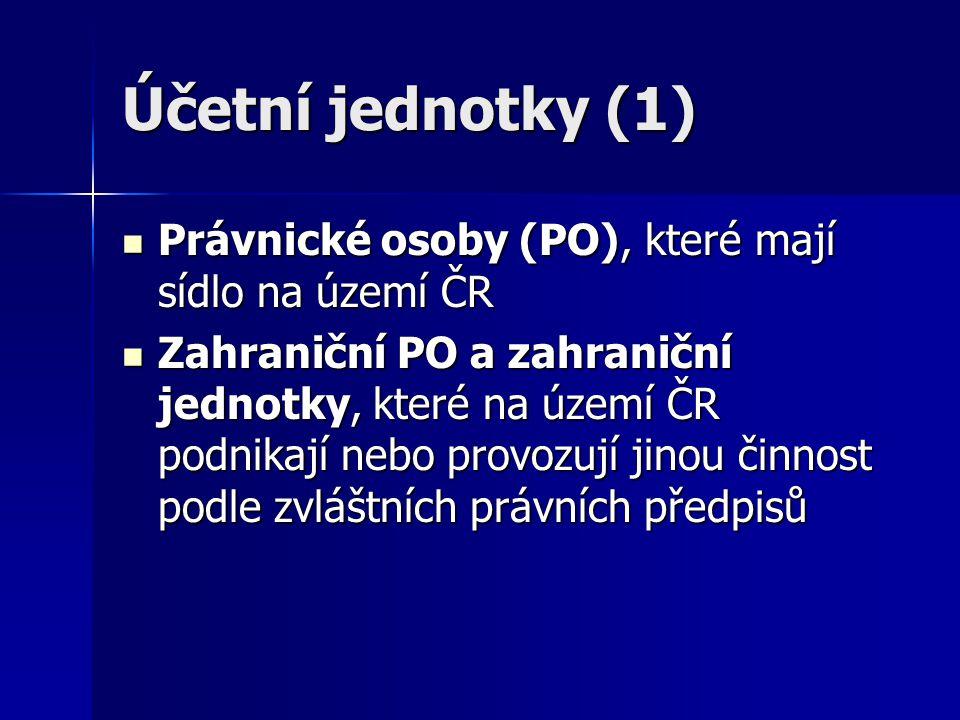Účetní jednotky (1) Právnické osoby (PO), které mají sídlo na území ČR