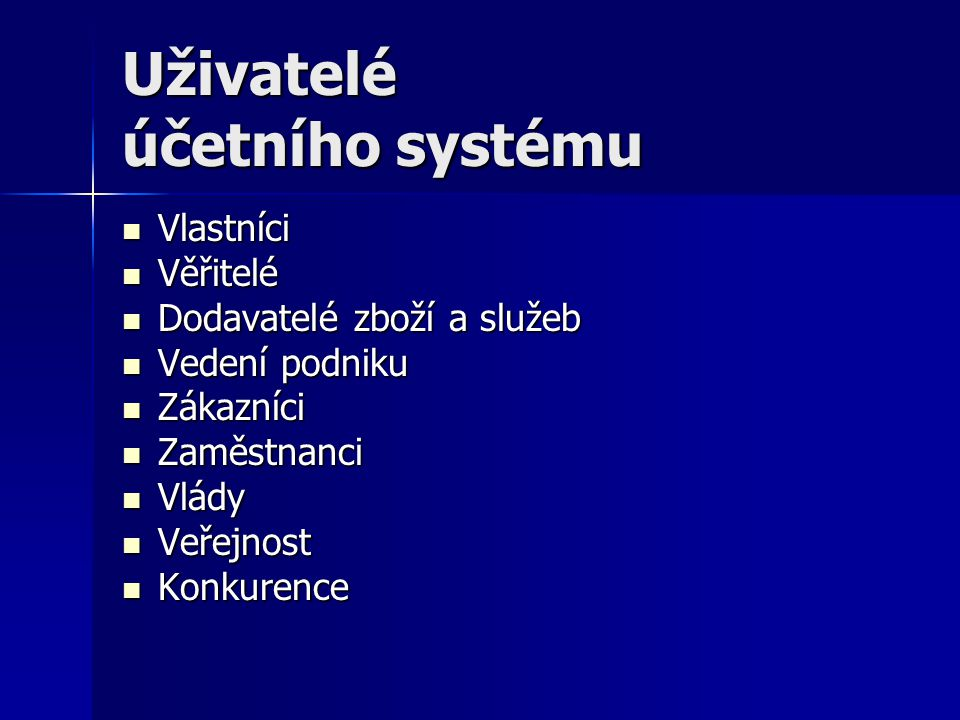 Uživatelé účetního systému