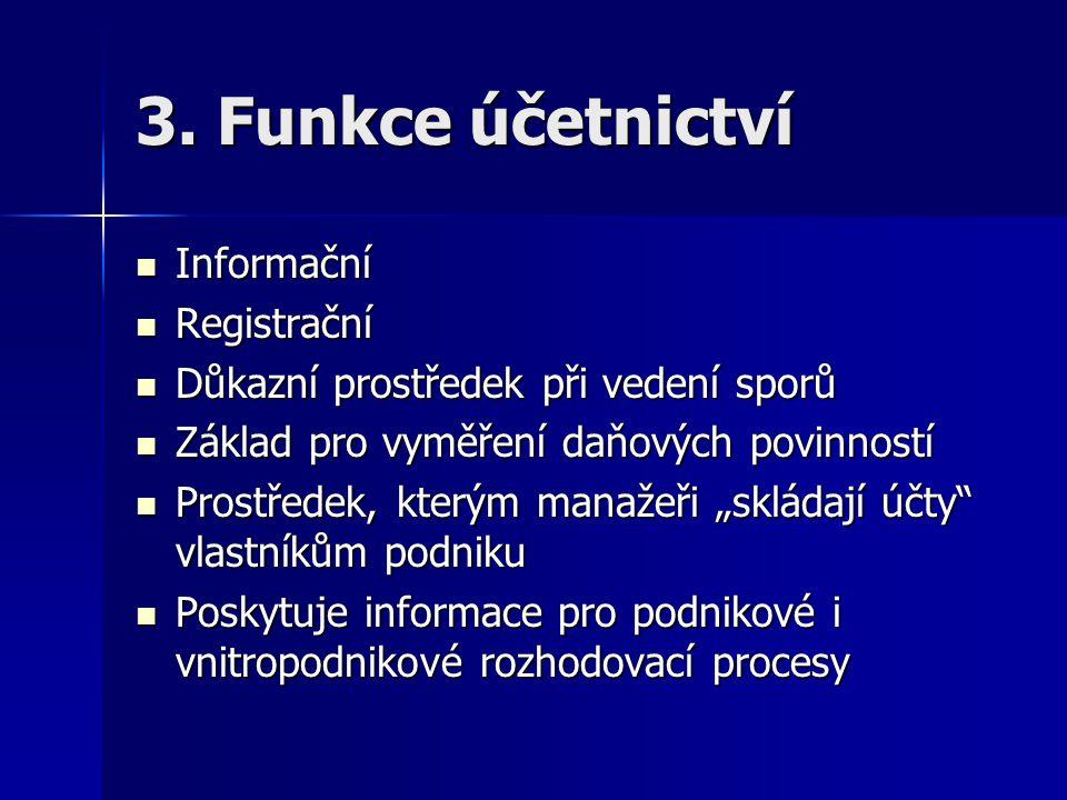 3. Funkce účetnictví Informační Registrační