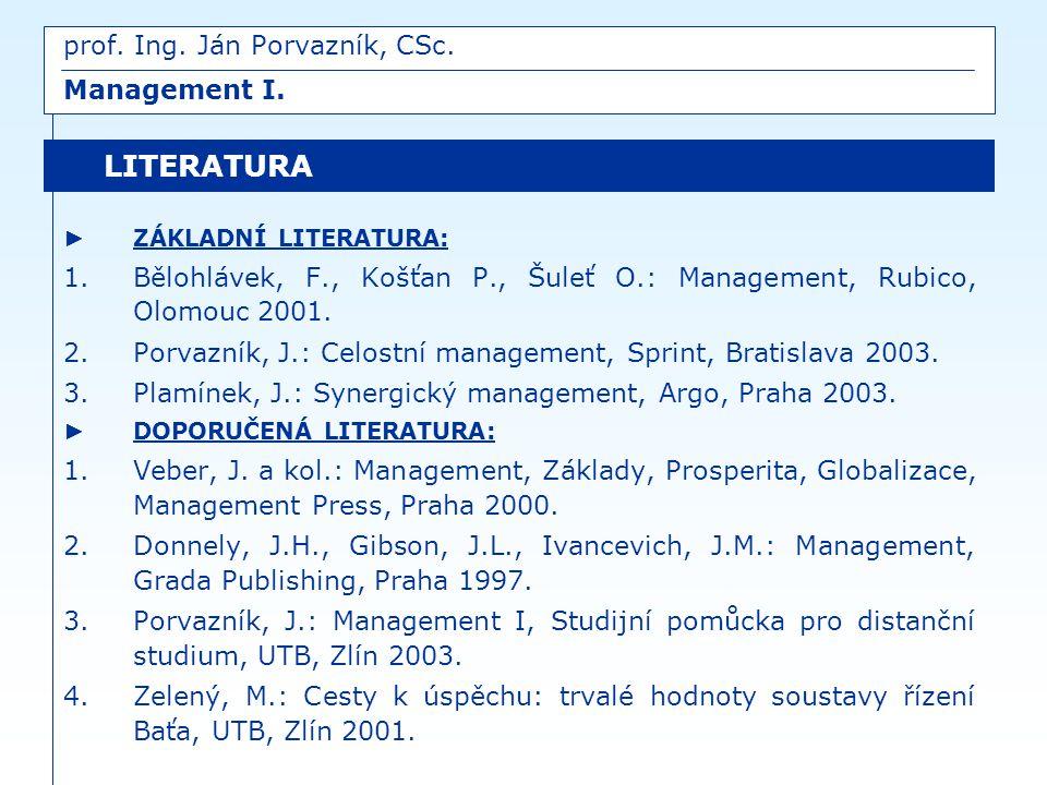 prof. Ing. Ján Porvazník, CSc. Management I.