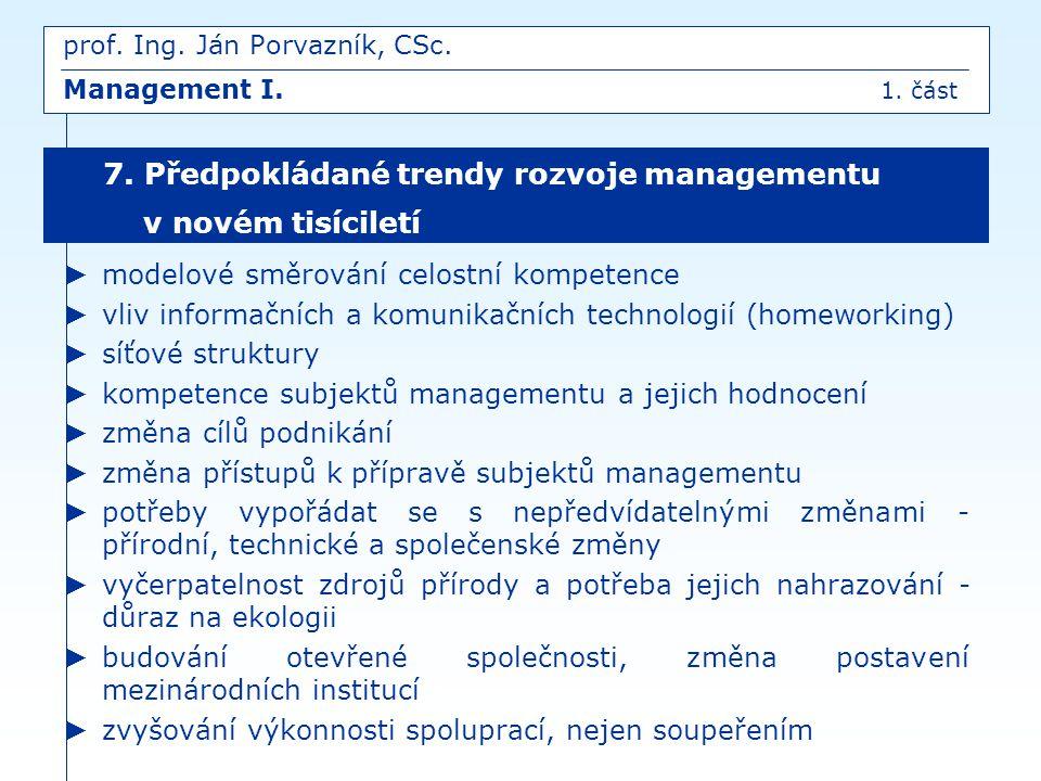 prof. Ing. Ján Porvazník, CSc. Management I. 1. část