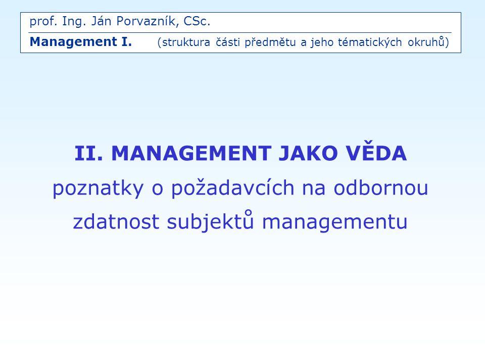 prof. Ing. Ján Porvazník, CSc. Management I
