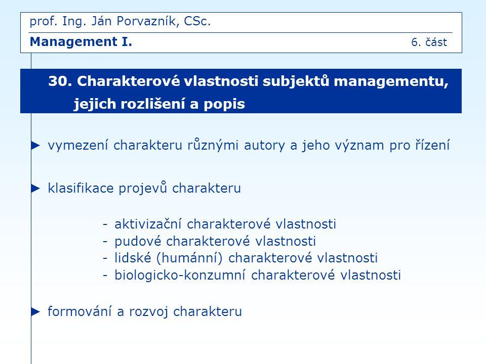 prof. Ing. Ján Porvazník, CSc. Management I. 6. část