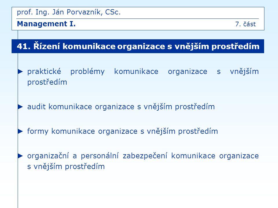 prof. Ing. Ján Porvazník, CSc. Management I. 7. část