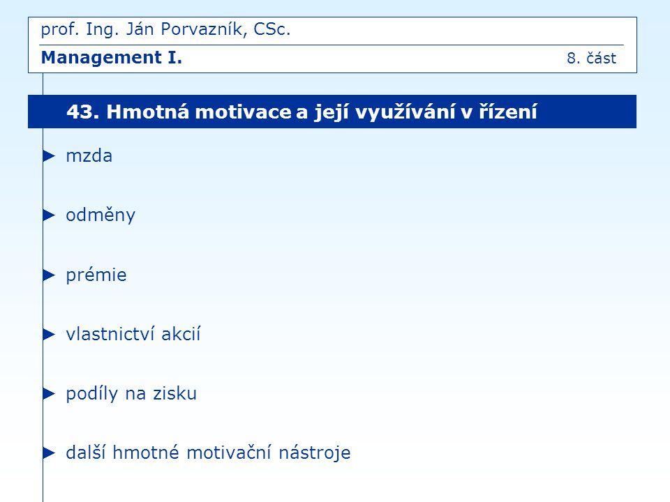 prof. Ing. Ján Porvazník, CSc. Management I. 8. část