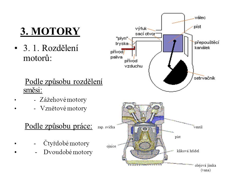 3. MOTORY 3. 1. Rozdělení motorů: - Dvoudobé motory - Vznětové motory